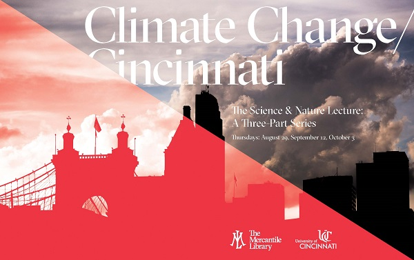 Climate Change/ Cincinnati - Roebling bridge, red overlay, diagonally upper left to lower right